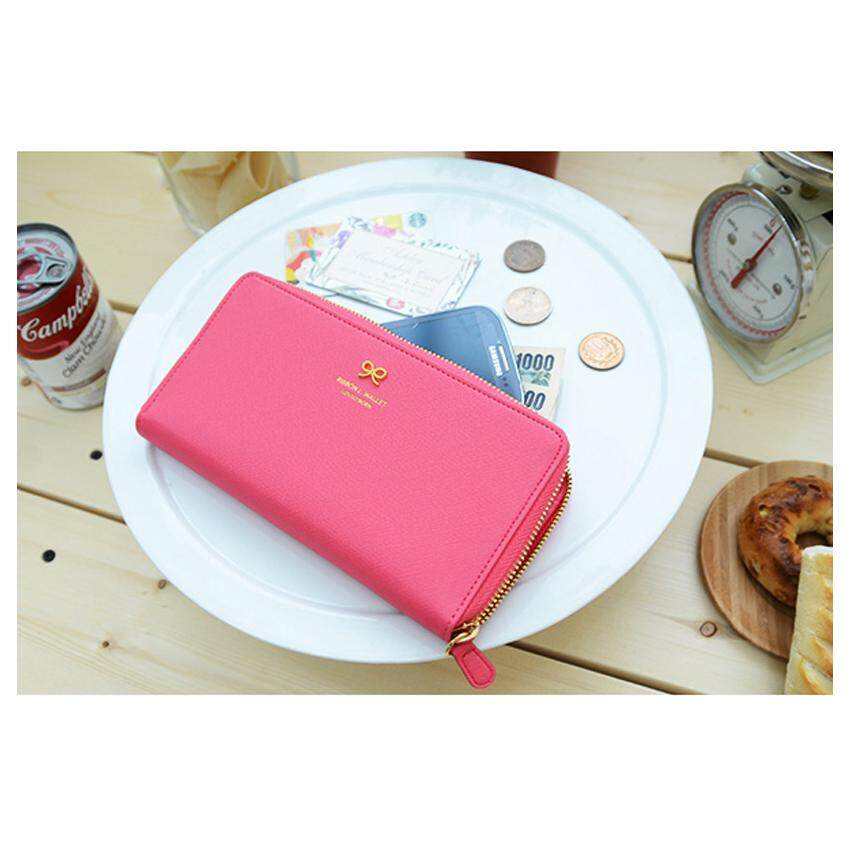 Ribbon Iconic Woman Long Wallet Purse Phone Card Leather Zip Gift