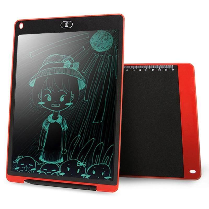 Chuyi Portabel 12 Inch LCD Menulis Tablet Menggambar Coretan Handwriting Elektronik Alas Pesan Papan Grafis Draft Kertas dengan Pena Menulis, CE/FCC/RoHS Sertifikat (Merah)-Internasional