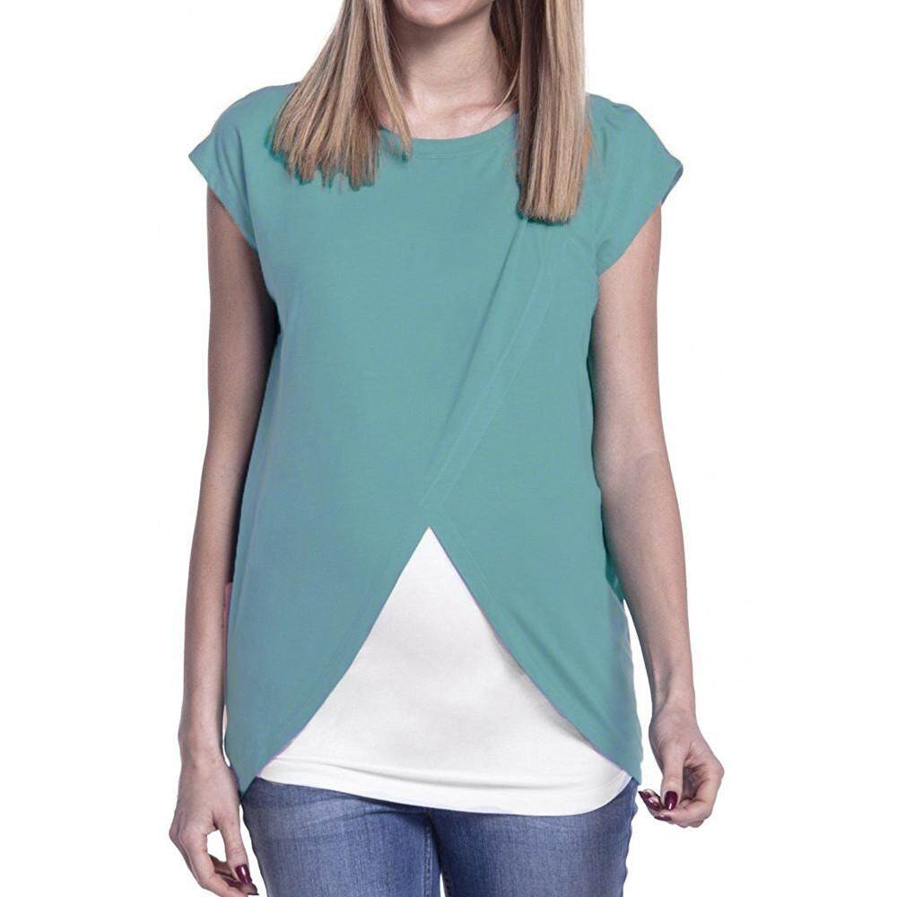 3df7aaae66cb  Women s Maternity Nursing Wrap Top Cap Sleeves Double Layer Blouse T Shirt  Free shipping