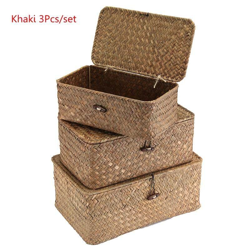 3PCS Wicker Woven Utility Storage Basket Box Organizer With Lid & Lock 3 Sizes