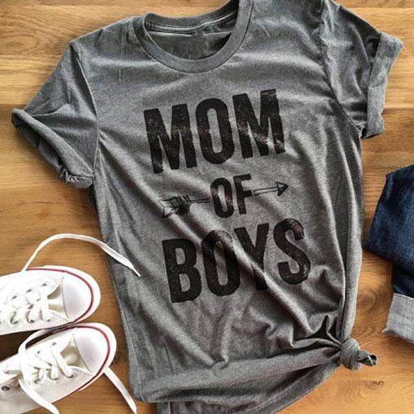 Women Mom Of Boys Letters Arrow Printed Short Sleeve O Neck Summer T-Shirt - intl