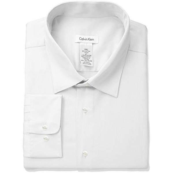 Calvin Klein Mens Regular Fit Stretch Solid Spread Collar Dress Shirt, White, - intl