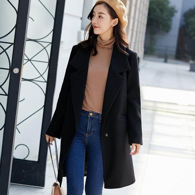 Wanita Musim Dingin Jaket Gaya Kerah Jatuh Mantel Wol Panjang Longgar Bagian Panjang Lengan Mantel Bahan