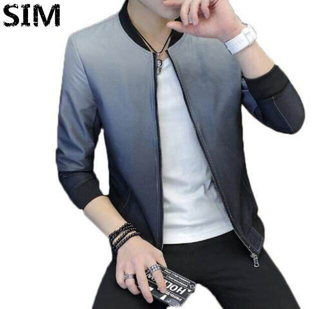 SIM Korean Style Casual Men Slim Fit Bomber Jacket Jaket pengebom KURTA VIRAL