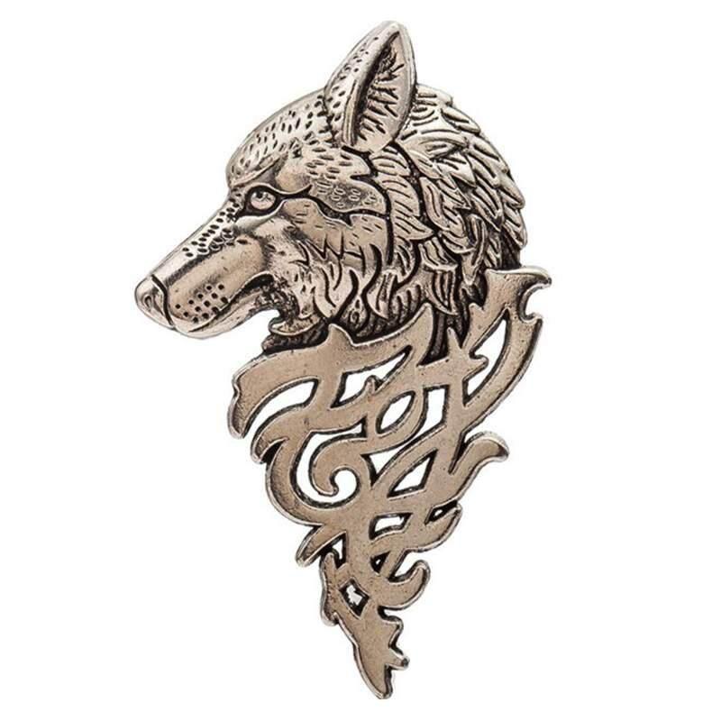 Versea 1 ชิ้น Vintage Punk Wolf Badge เข็มกลัดเข็มกลับปกเสื้อเสื้อชุดเครื่องประดับสำหรับของขวัญชายฤดูร้อน Nice ของขวัญ - Intl.