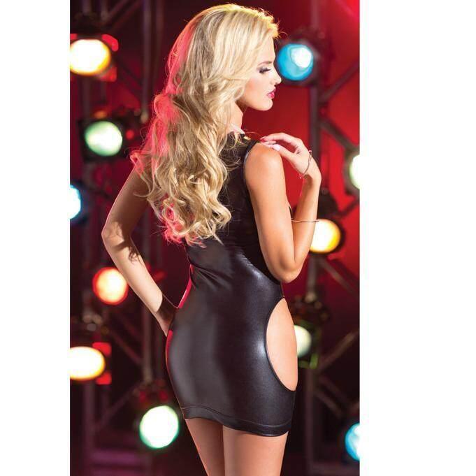 Seksi Paten Kulit Lingerie Elastis Bebas Ukuran Mini Strapless Gaun Pakaian Klub BK-Internasional