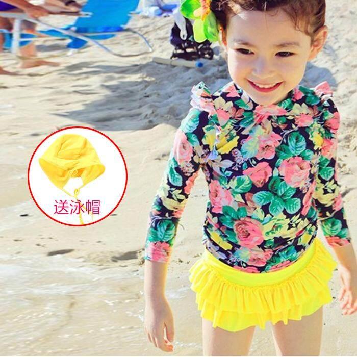 Long Sleeve Girl Bathing Suit Baby Swimming Body Quick Dry Swim Suit