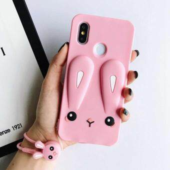Lovely Rabbit Silicon Case with Lanyard Soft Protective 3D Cartoon Cover For Xiaomi Mi 6X /