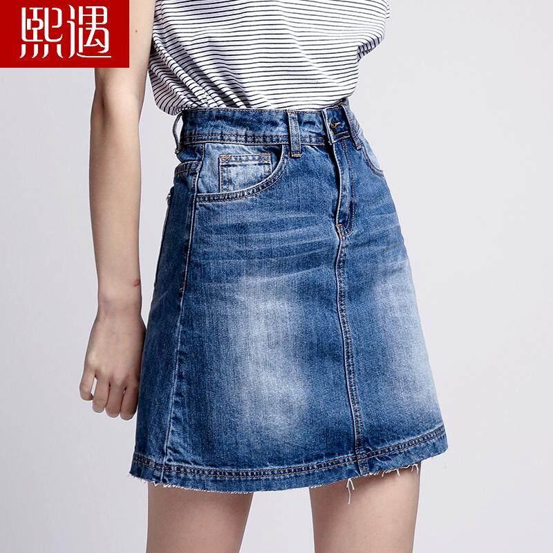 Rok Berbentuk Huruf Yang Pinggang Rok Jeans Korea Modis Gaya Bagian Panjang Musim .
