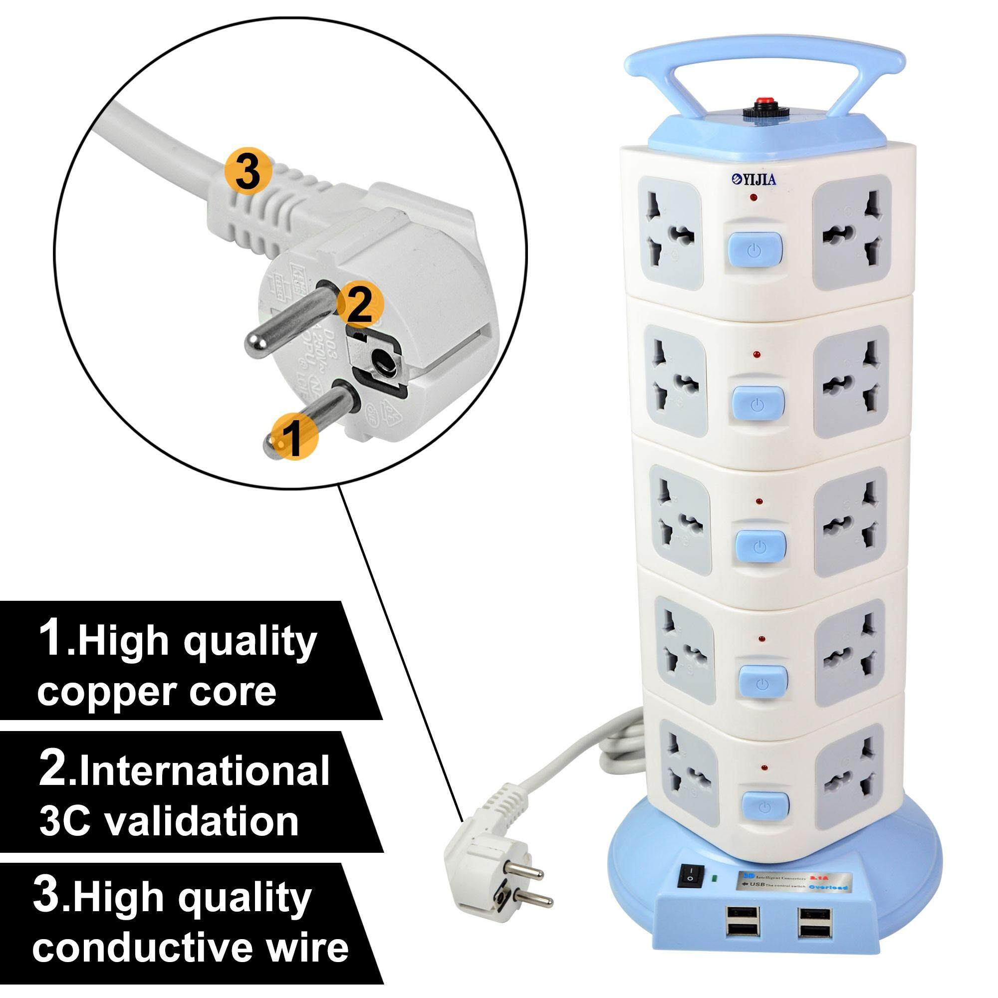 Multi Plug 250V Universal 20 Outlet MENGS 5 Layer Vertical Type  Power Strip Multifunctional Extension Socket With Overload Protection