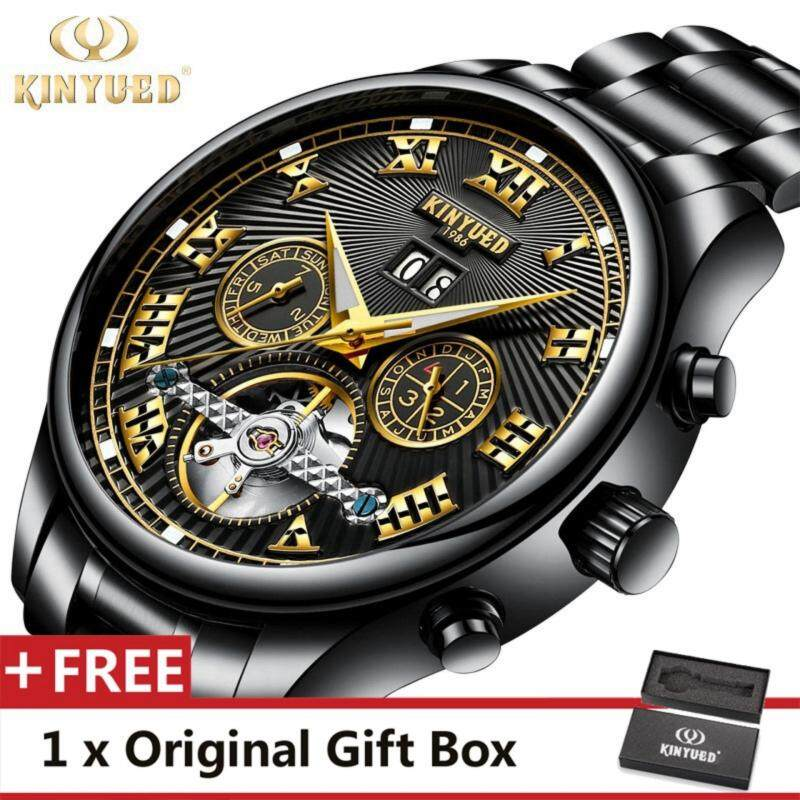 KINYUED Top Brand Mechanical Watch Luxury Men Business Watchs Stainless Steel Band 3ATM Waterproof Calendar Function Mens Famous Male Watches Clock For Men Wrist Watch Black Malaysia
