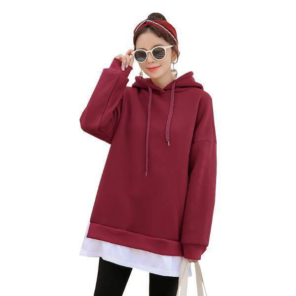 607b36cf205 Maternity Dress Winter Sweater Stitching Cashmere Thickening Loose Hooded  Pregnant Women s Dress