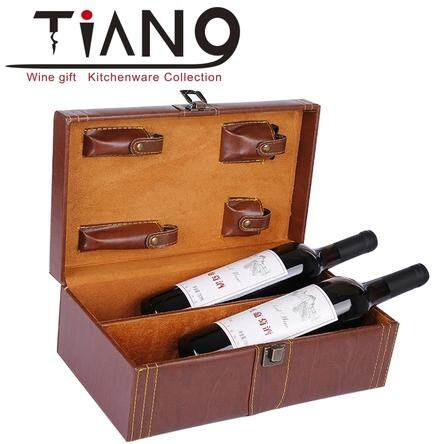 Wine Box Double Leather Box Gift Box Red Wine Packaging Box Double Pack Lafite Wine Set Brown Four-piece Set