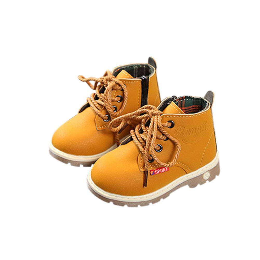 Bt เด็ก Unisex แฟชั่นรองเท้าบูท Martin Low Tube ด้านหน้า Lace - Up รองเท้าบูทสีเข้มรองเท้า By Boxi Trade.