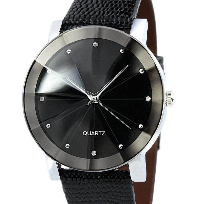 Men Coconie Luxury Quartz Sport Stainless Steel Dial Leather Band Wrist Watch