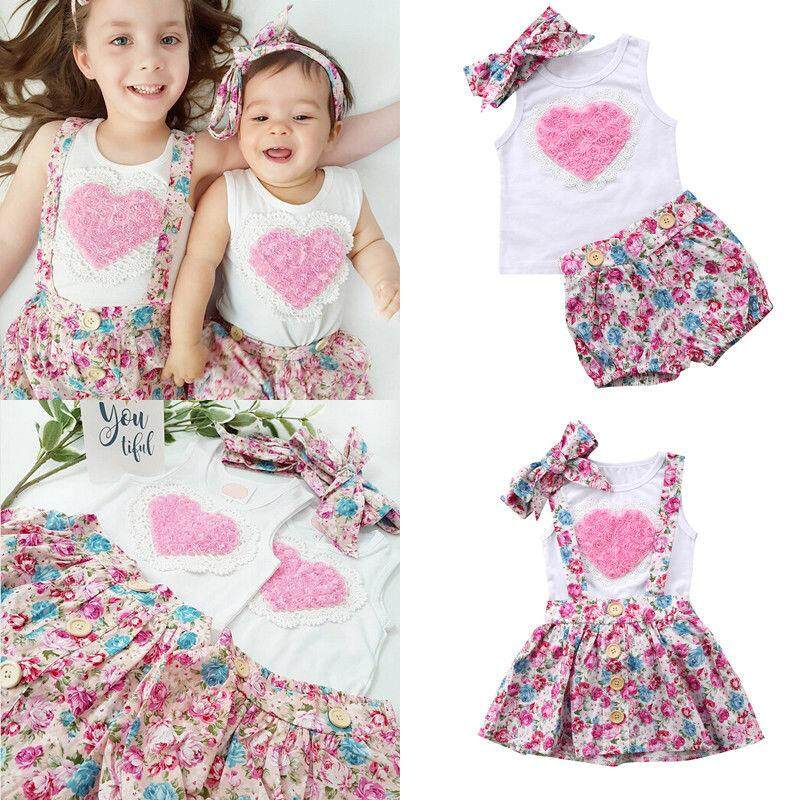 26b1343bbad6b For Little Sister Newborn Baby Kids Girl Sister Matching Cotton Clothes  T-shirt Dress Pants
