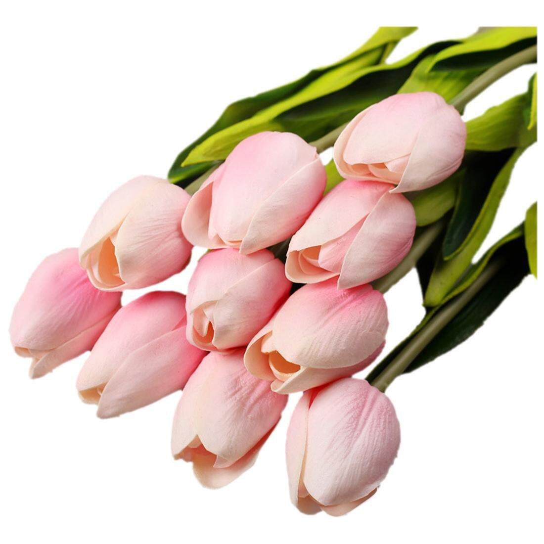 30pcs/lot Tulip Artificial Flower Real Touch PU Artificial Bouquet Flowers For Home Decoration Wedding Decorative Flowers(light pink)