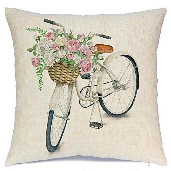 Decorative Pillows AENEY White Bicycle Flower Vintage Spring Home Decorative Throw Pillow Case Cushion Cover Cotton Linen Home Decor for Couch Sofa Bed Chair 18 X 18 Inch A080 - intl