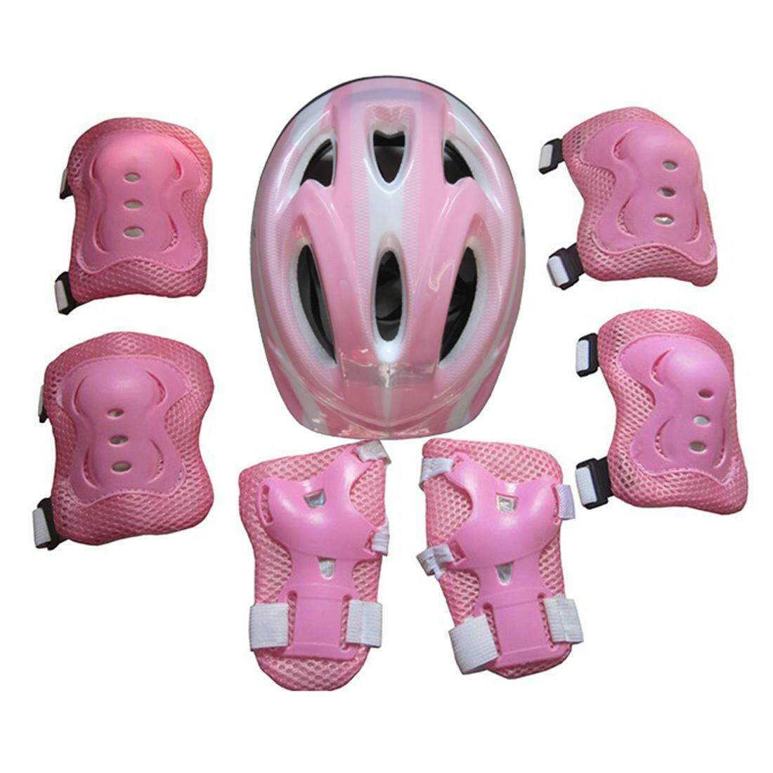 360WISH 7Pcs Ice Skates Protective Gear Helmet Set for 5-11 Year-old Children - Pink