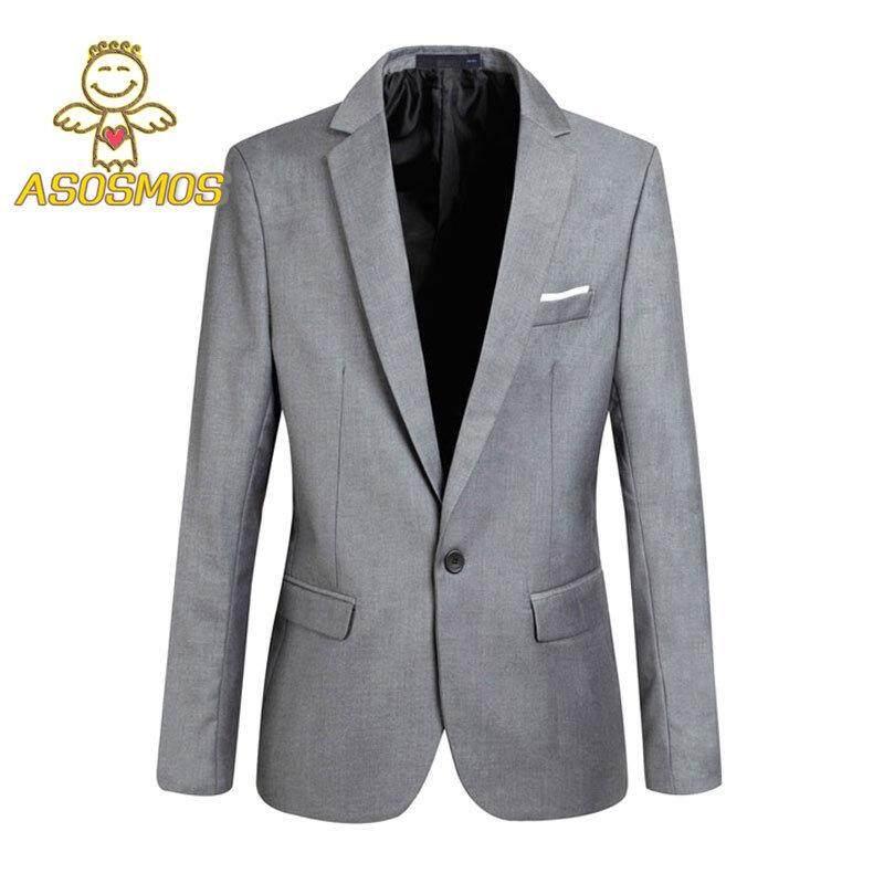 b305974d7 ASM Fashion Jaket Blazer Pria Musim Gugur Blazer Lengan Panjang Warna Polos  Tipis Pria Kasual Pakaian