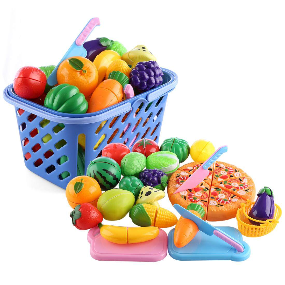 Hình ảnh 360DSC 29Pcs/Set Plastic Fruit Vegetables Cutting Toy Early Development and Education Toy for Baby - Color Random - intl