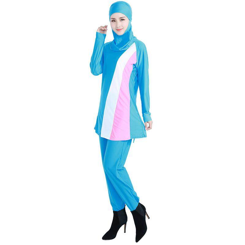 a06053500c7 YCROWN Women Plus Size Muslim Swimwear Beach Bathing Suit Muslimah Islamic  Swimsuit Swim Surf Wear BLUE