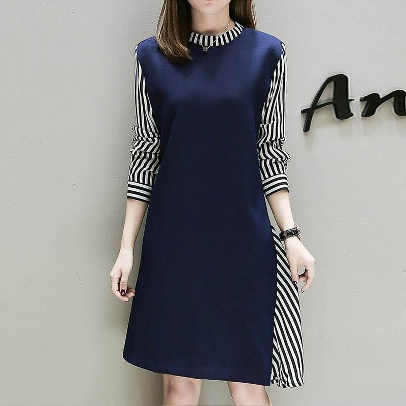 2018 busana musim gugur model baru perempuan mm motif garis kerah berdiri gaun pasang Seolah-olah Dua Potongan ukuran besar baju wanita Gaya Korea Agak Gemuk Awet muda