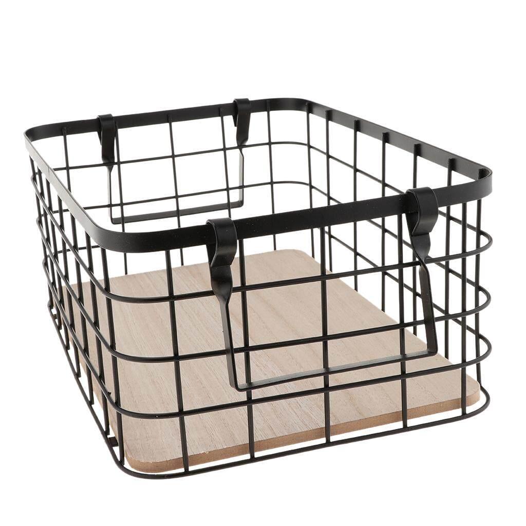 Fityle Wrought Iron Storage Basket Snack Fruit Storage Basket with Handle Black