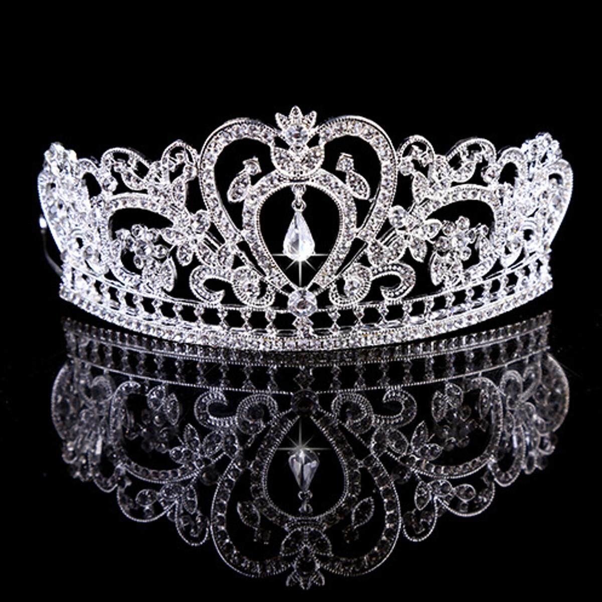 5PCS Princess Austrian Bridal Crystal Wedding Hair Tiara Crown Prom Veil Headband Silver