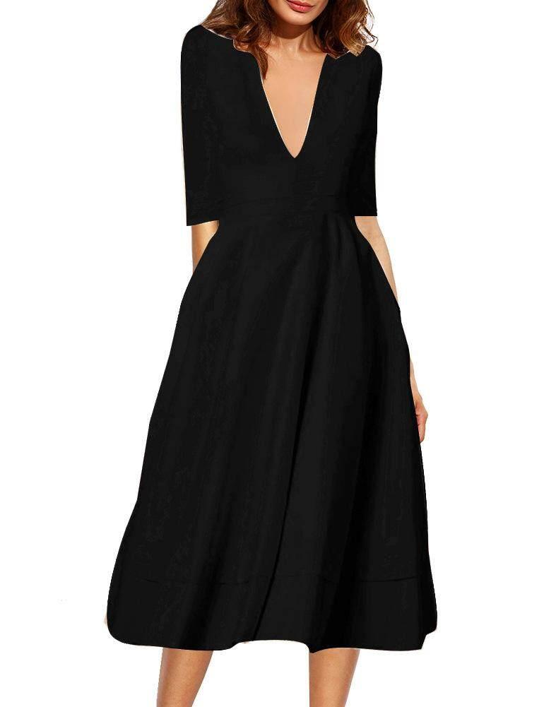 Yohanne Women Deep-V Neck Half Sleeve Vintage Classical Casual Swing Dress - intl