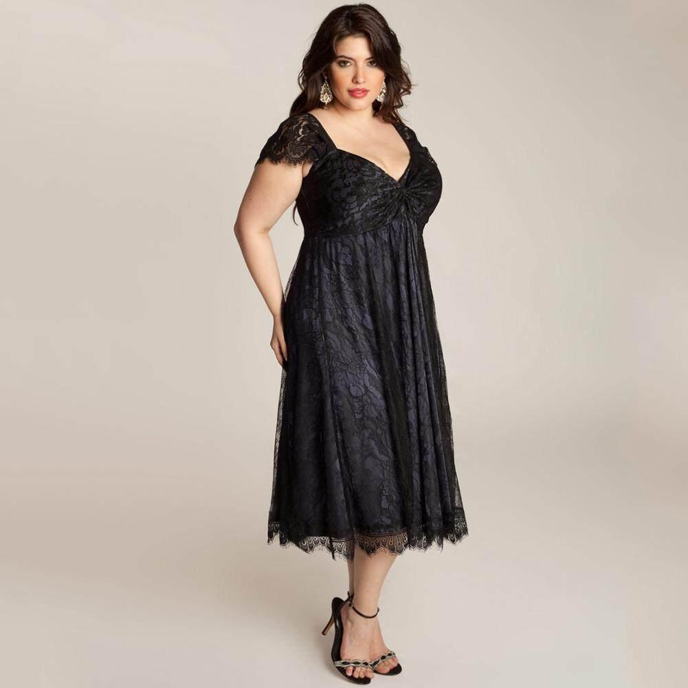 Wanita Plus Ukuran Gaun Bunga Renda Sayang V Leher Tutup Lengan Midi Elegan Pesta Malam Pakaian-Internasional