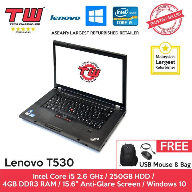 Lenovo T530 Core i5 2.6 GHz / 4GB RAM / 250GB HDD / Windows 10 Home Laptop / 6 Months Warranty (Factory Refurbished) Malaysia
