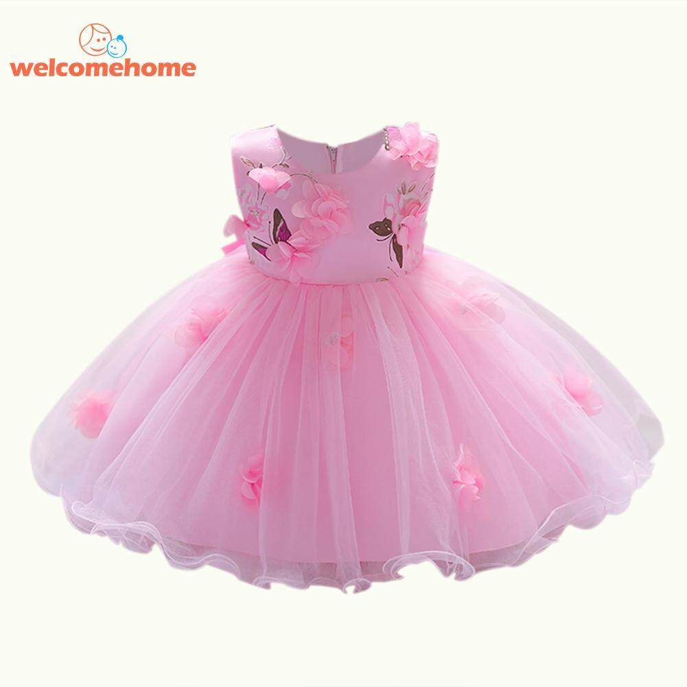 Fashion 3D Flowers Ball Gown Girls Baby Infants Princess O Neck Birthday Dresses