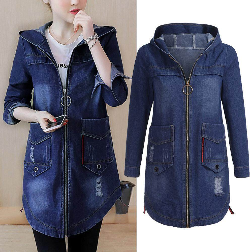 GUO Fashion Women Plus Size Long Sleeve Denim Outcoat Pockets Hooded Jean  Outwear bb460e3577