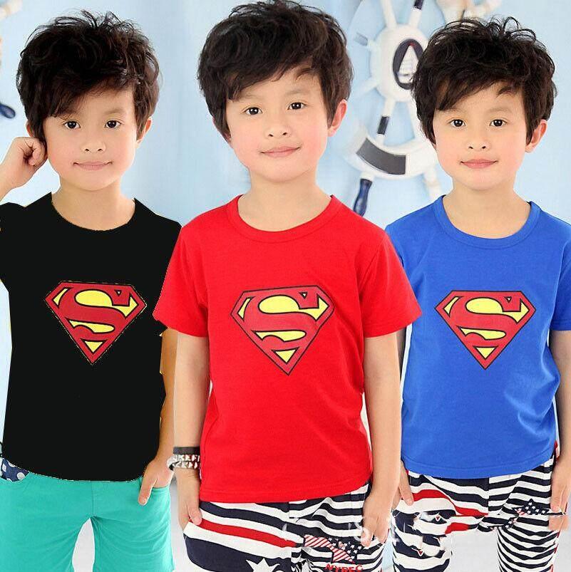 เด็กทารกเด็กฤดูร้อน Superman แขนสั้นเสื้อยืดท็อปแบบตัวสั้นเสื้อผ้า By Magic Peter.