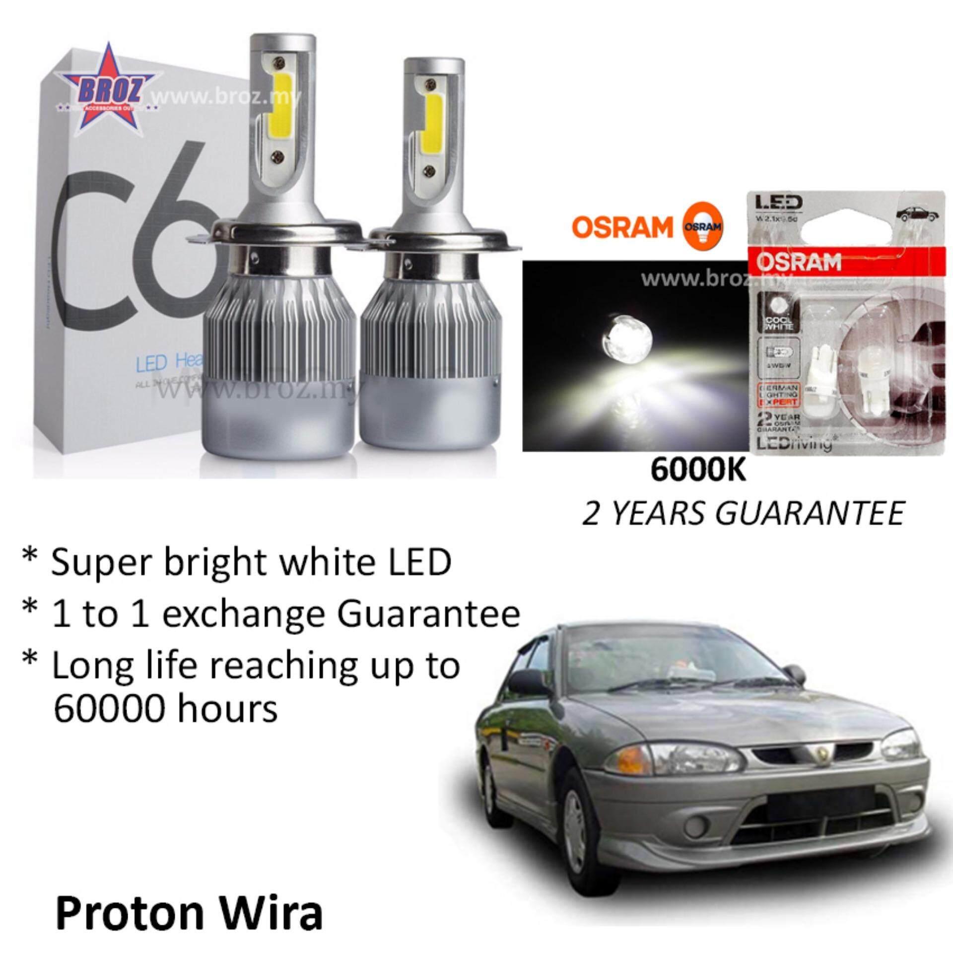 Proton Wira (Head Lamp) C6 LED Light Car Headlight Auto Head light Lamp 6500k White Light (Free Osram T10 LED)