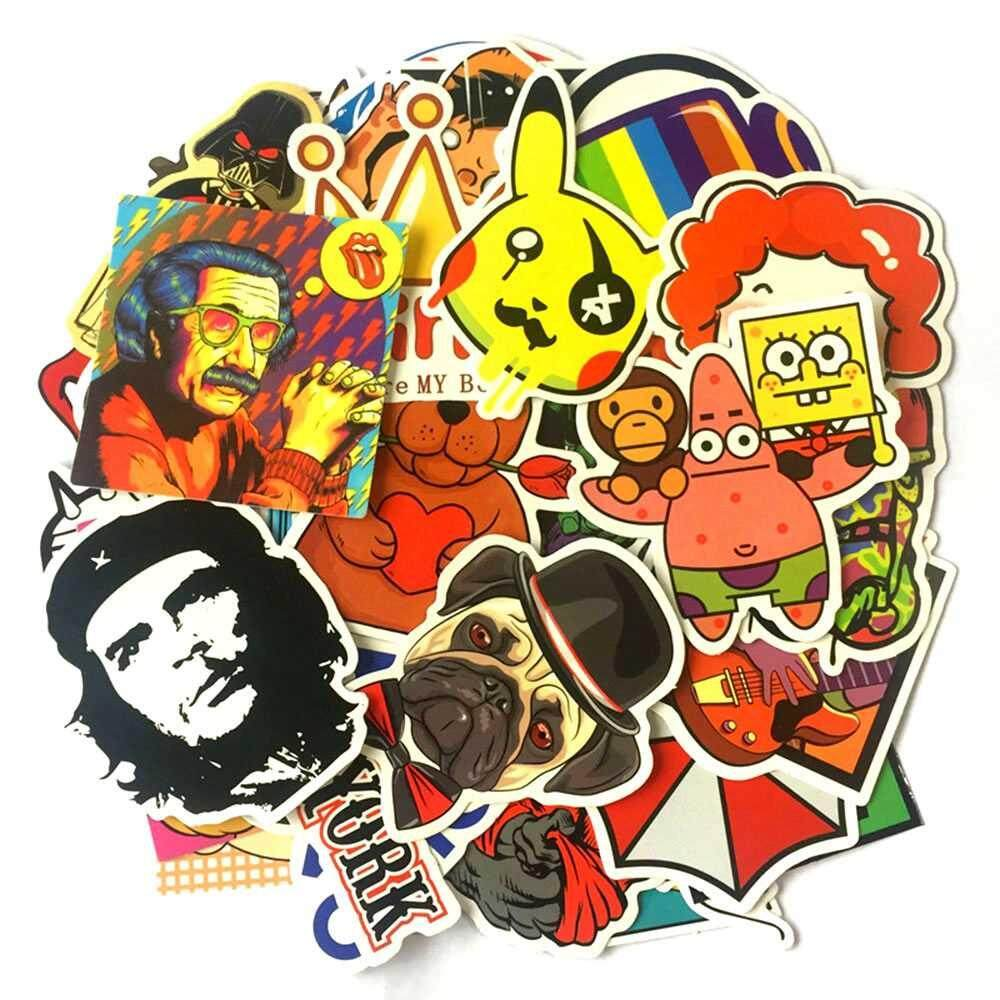 50 PCS Mixed Sticker for Car Fridge Phone DIY Skateboard Laptop Luggage Snowboard Motorcycle - H - intl