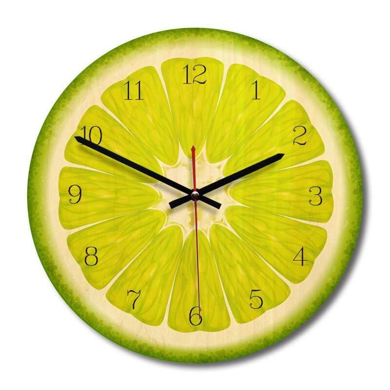 Creative wall clock, European minimalist wooden decorative clock, fruit Section lemon Free Shipping