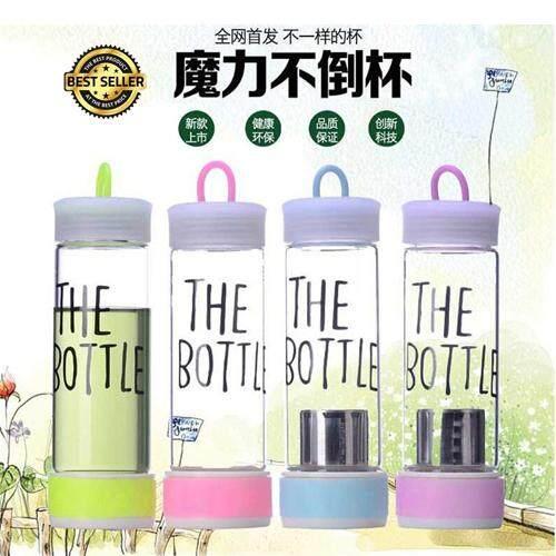 Korean Trendy Fashion Clear Transparent THE BOTTLE won't fall Water Bottle - Random Colour