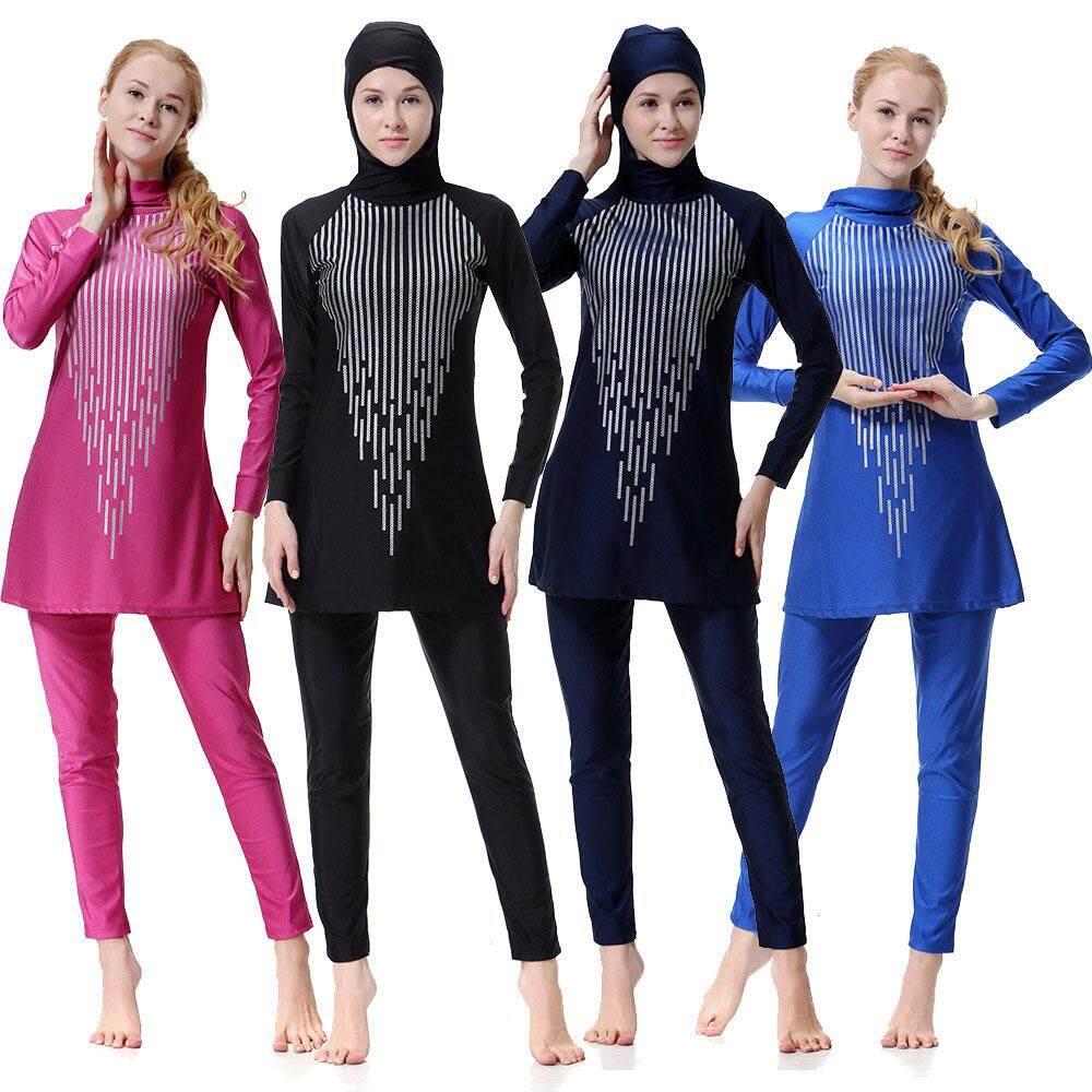 b721e0e41a205 Pawaca Women Printed Floral Hijab Muslim Swimwear Beach Bathing Suit  Muslimah Islamic Swimsuit Swim Surf Wear