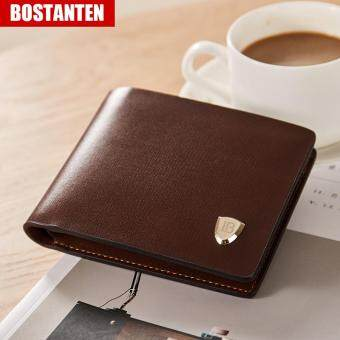 Bostanten Men's Cow Leather Bifold Wallet with Deluxe Credit Card Flip Pocket (Brown)