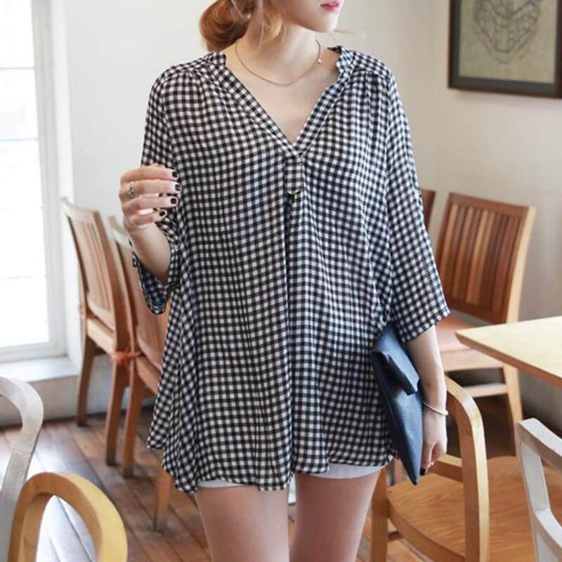 Zanzea Wanita Longgar Periksa Kotak-kotak Tartan Katun Jubah Blus Kaus Atas-Internasional