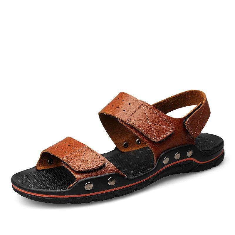 e0e0e6b0a1bfb5 Fashion summer sandal breathable men's Genuine leather beach shoes large  size casual shoes outdoor covered sandals