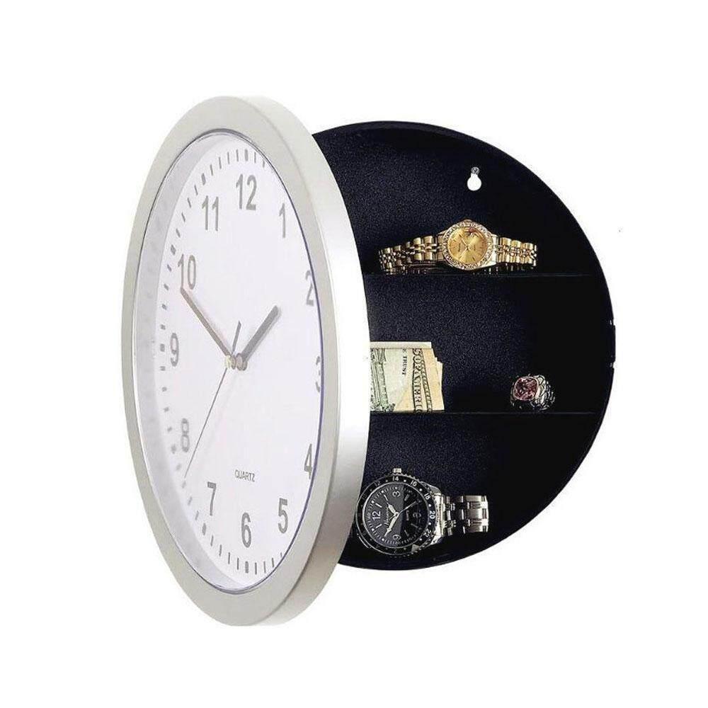 GoodGreat Wall Clock Hidden Safe - Clock Safe Secret Safes Hidden Safe Wall Clock For Secret Stash Money Cash Jewelry, 10 Inch Plastic Silver Wall Clock Compartment Stash Box - intl