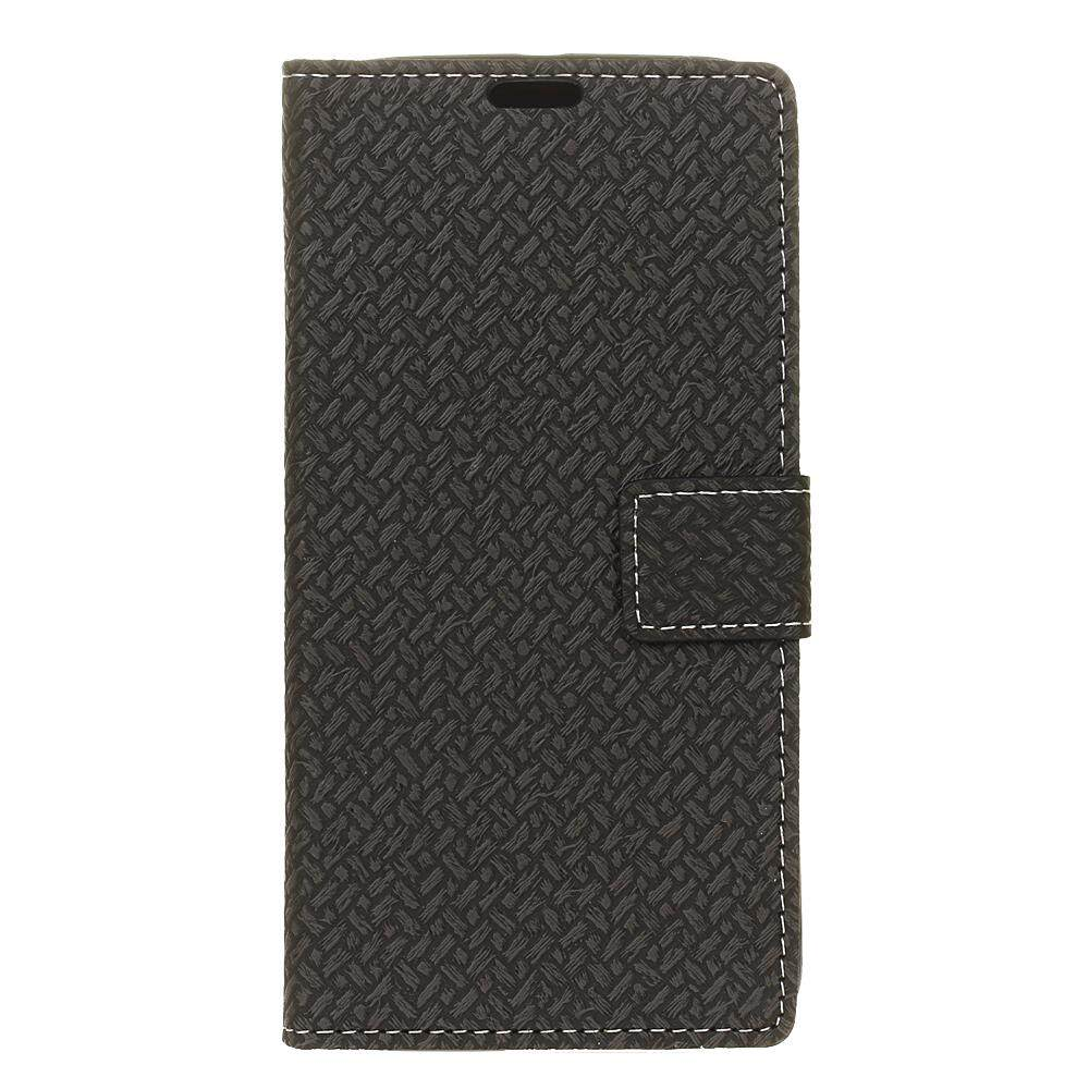 AS Beauty Phone Case for ZTE Blade V8 Pro Woven Pattern PU Leather Wallet Case Magnetic Flip Stand Cover with Card Slots Photo Frame - intl