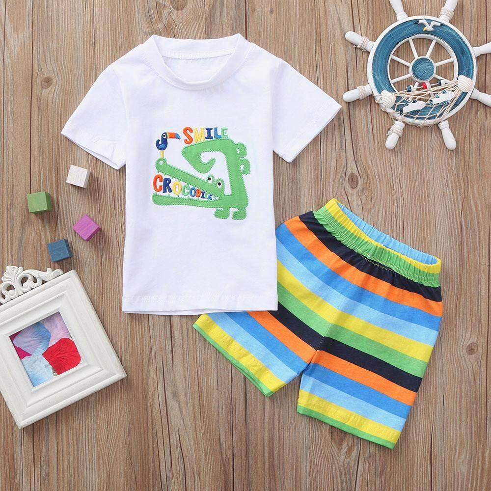 af25f5a324811 2019 M&K Boys Clothes Set 2PCs Kids Baby Boys Crocodile Letter Print  Tops+Stripe Print Pant Outfits Sets