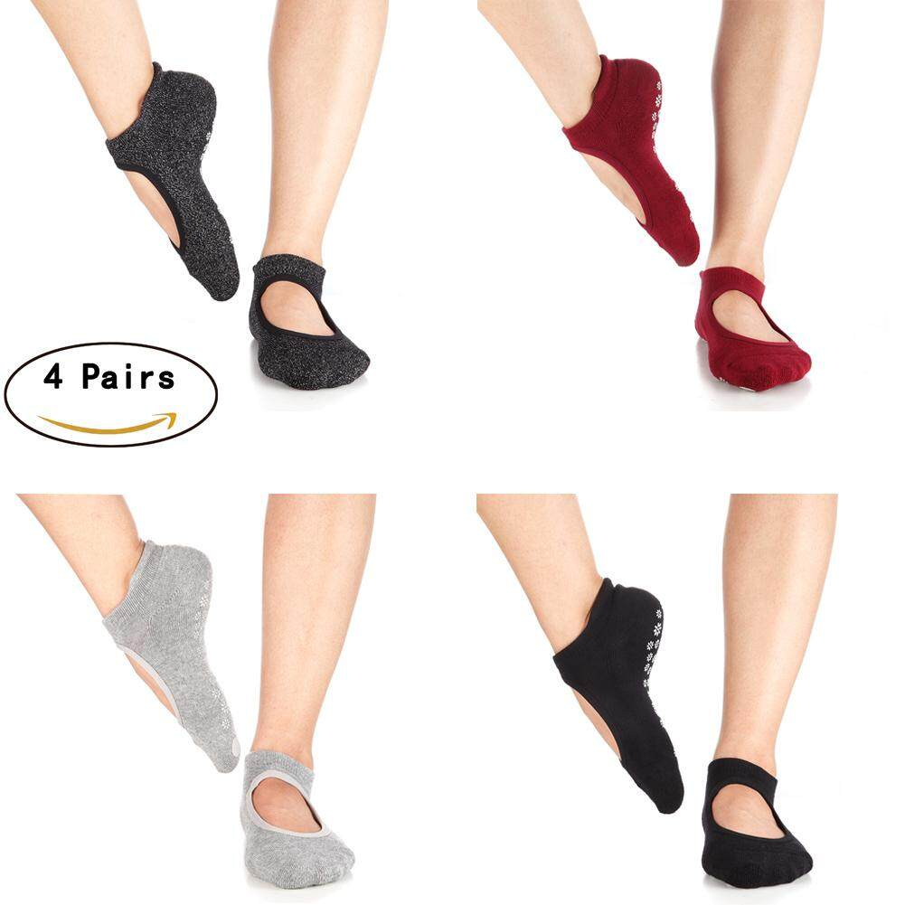 4 Pairs Of Yoga Socks Non Slip With Grips Fitness Ventilate Instep Style For Women By Meming.