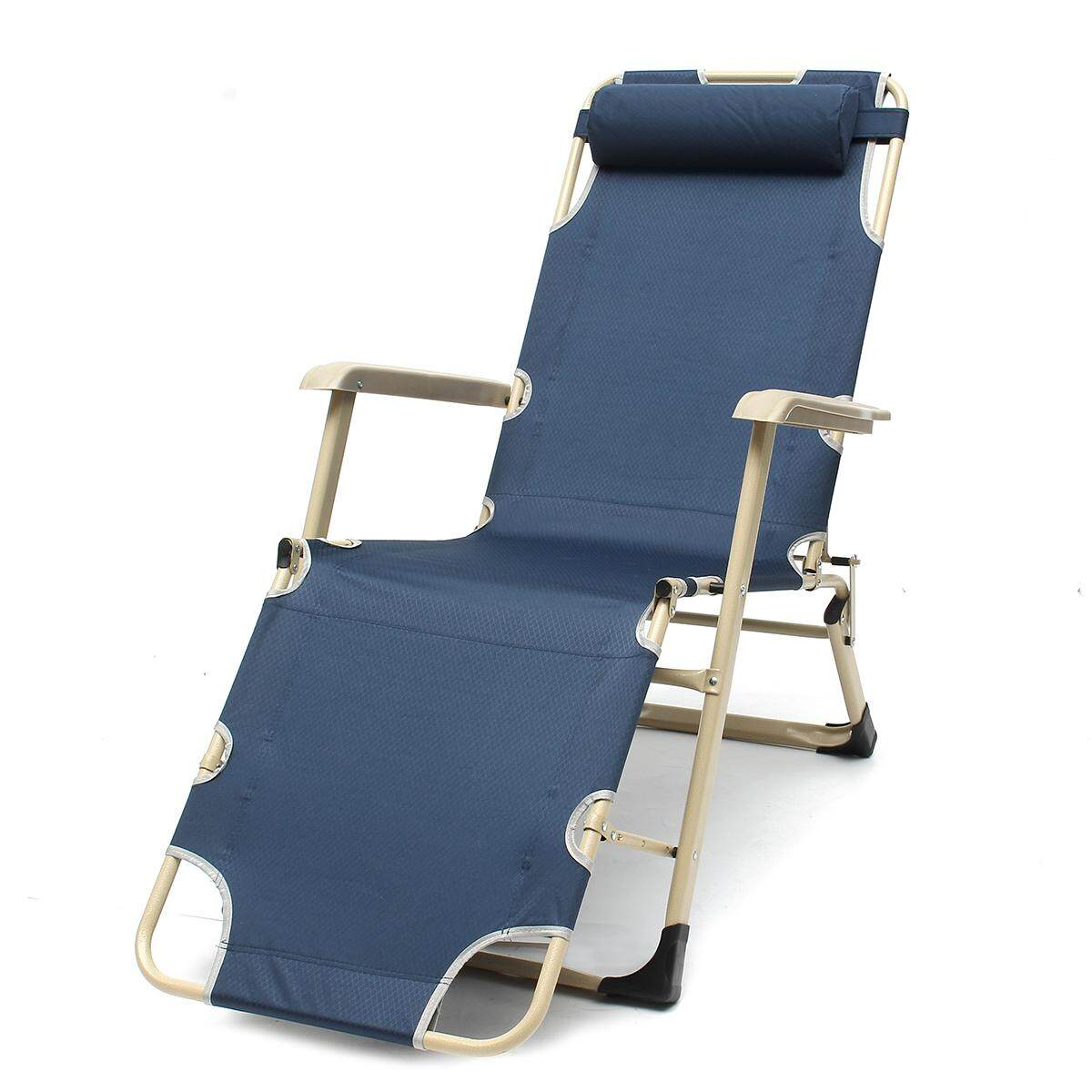 Reclining Deck Lounge Sun Beach Chair Outdoor Folding Camping Tanning Pool Navy with Suede cotton pad