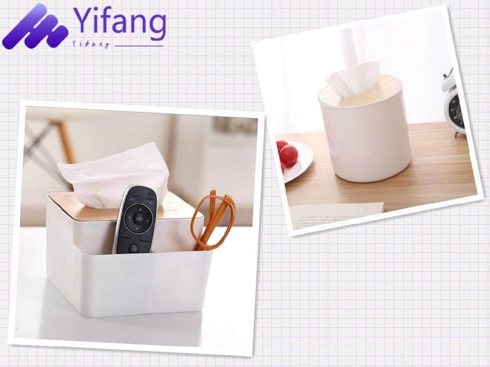 Shock Price Yifang-2 Pcs Removable ม้วนกระดาษทิชชูกล่องกระดาษชำระไม้บ้านห้องน้ำรถกล่องใส่กระดาษทิชชู่ผ้าเช็ดตัวผ้าเช็ดปาก LOG ที่ใส่กระดาษชำระ + ...