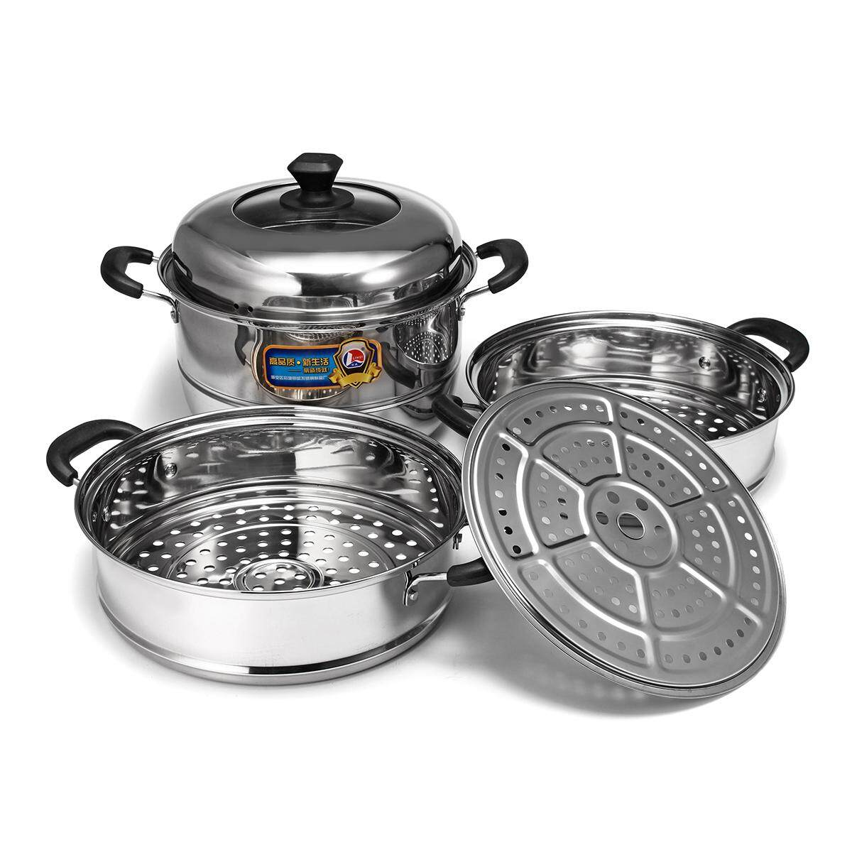 Concord Stainless Steel 3 Tier Steamer Steam Pot Cookware Avail In 3 Sizes [30cm] By Glimmer.